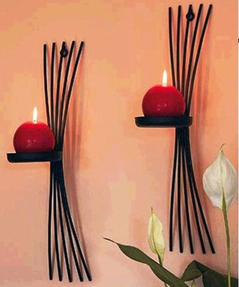 Vintage casting metal candle holders wall candle stand 2pcs/pack Cast Iron home decoration art decor home accent party bar decor-oosmdeals