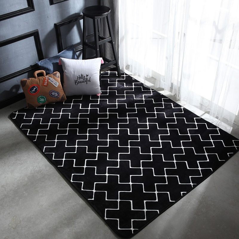 Geometric Plush Nordic Rug and Carpets for Living Room Bedroom Floor Climbing Child Kid Baby Play Mat - home and decor-oosmdeals