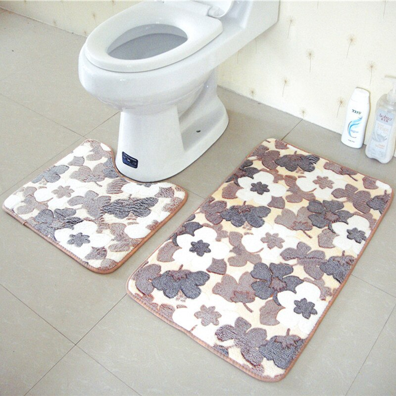 2 pcs / set Thickening Coral Fleece Floor Mats carpet Bath Set Toilet Anti-slip rug alfombra Bathroom Water Absorption Rugs
