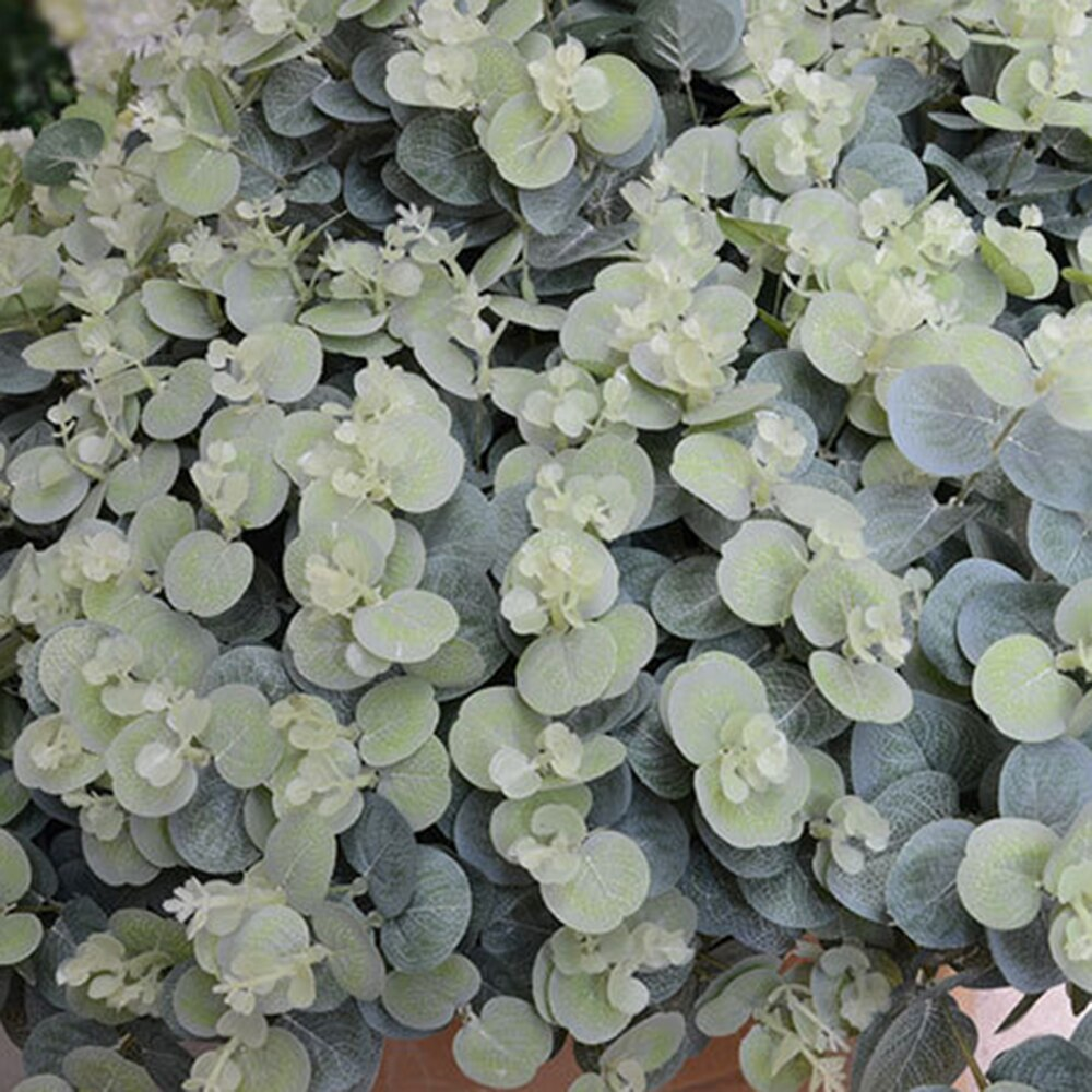 16 Heads Artificial Fake Leaf Eucalyptus Leaves bouquet Silk Artificial Leaves Home Decoration DIY Flower Plant Faux Foliage
