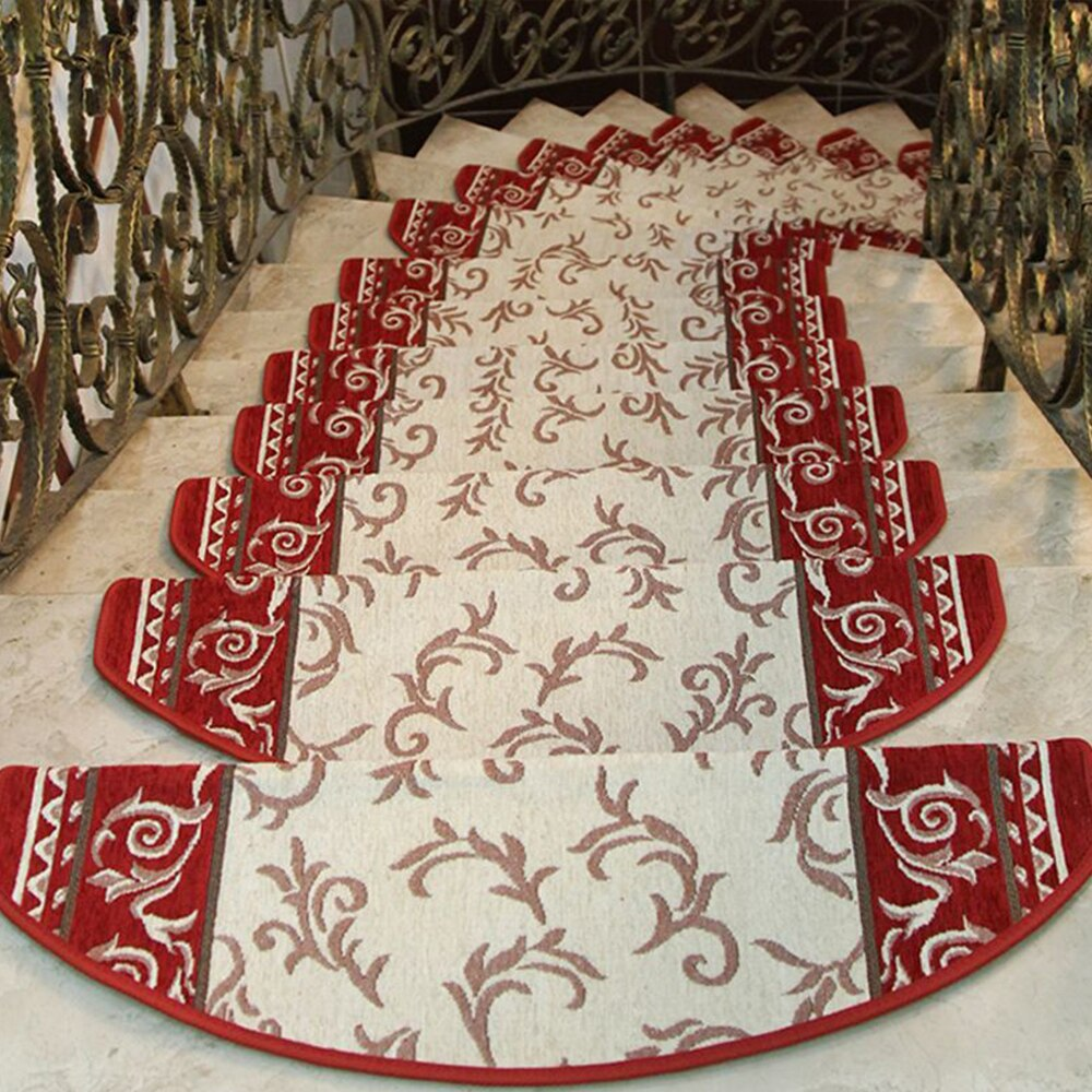 yazi Non-slip Stairs Carpet Self-adhesive European Pastoral Floral Rug Living Room Soft Stairway Stair Step Mat