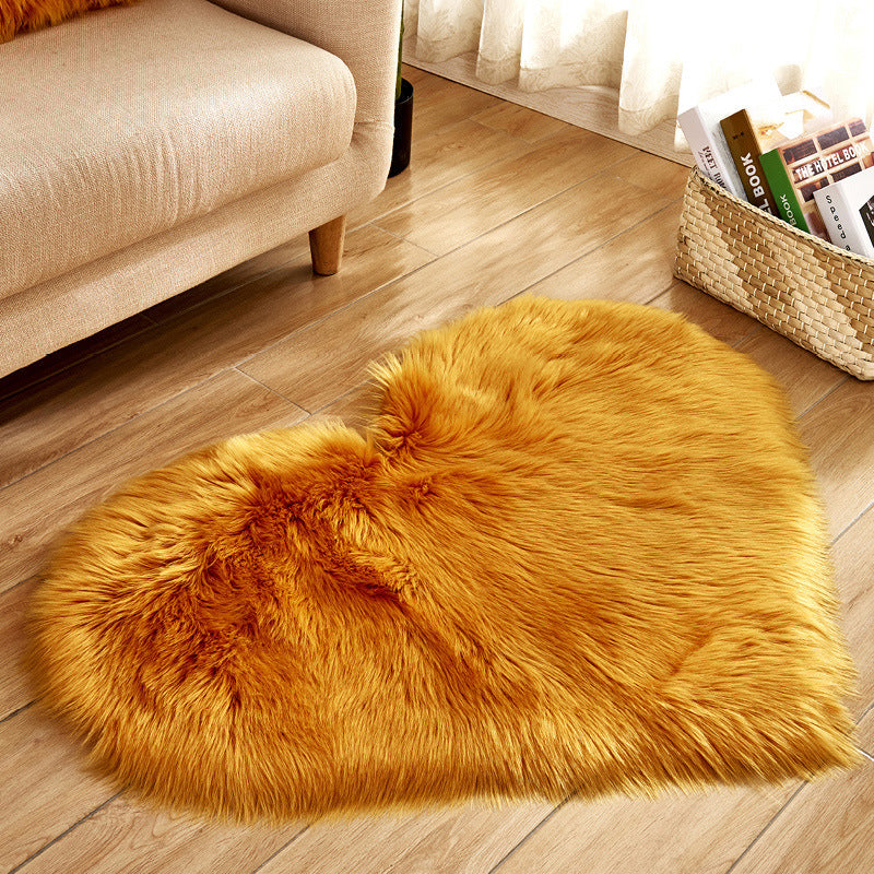 Long Hairy Rug Blue White Pink Shaggy Carpet Love Heart Shape Fur Rugs Artificial Wool Sheepskin Baby Room Bedroom Soft Area Mat