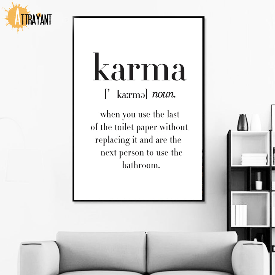Toilet Paper Funny Shit Quote Karma Wall Art Canvas Painting Nordic Posters And Prints Wall Pictures For Bathroom Washroom Decor