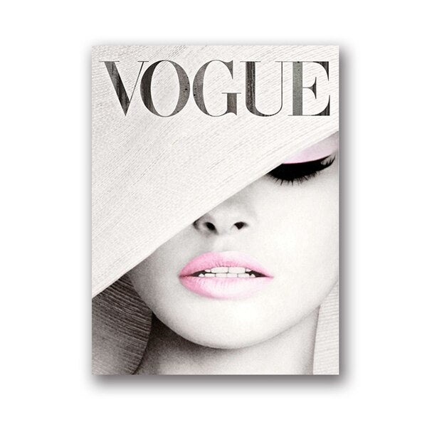 Vogue Cover White Hat Art Canvas Painting Wall Picture , Fashion Photography Canvas Art Prints And Posters Ladies Room Decor
