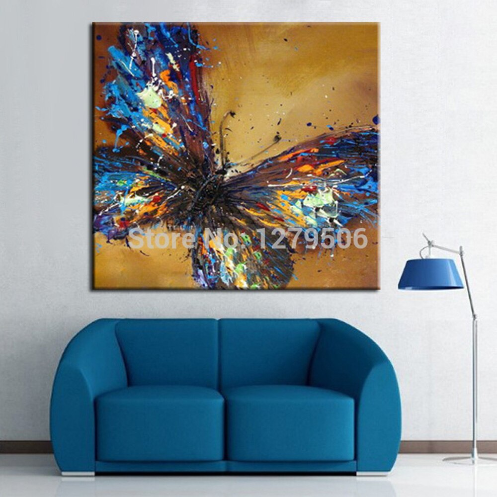 Handmade Canvas Painting Abstract Adorable Blue Butterfly Art Oil Painting On Canvas Animal Paintings For Living Room Decor - wall art