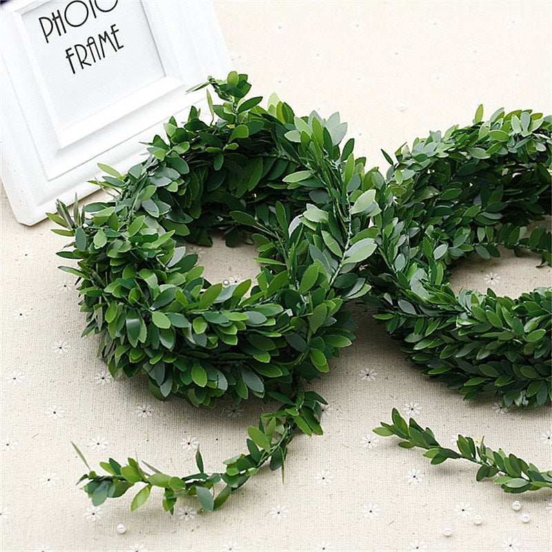 7.5 Meters Artificial Leaf Garland Plants Vine Fake Foliage Handmade for Home Decor Wedding Decoration DIY Wreath Silk Flower .Q - home and decor
