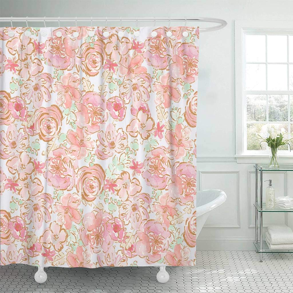 Fabric Shower Curtain with Hooks Colorful - home and decor