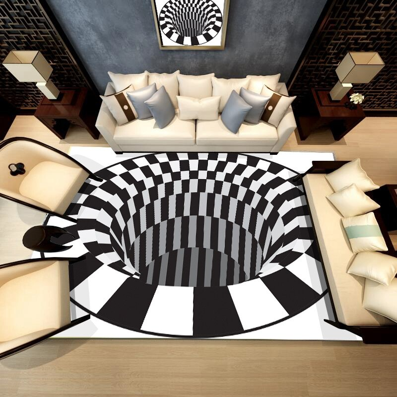 3D White Black Abstract Geometric Living Room Area Rugs Carpets Optical Illusion Printed Tapete Non-Slip Floor Mats - home and decor