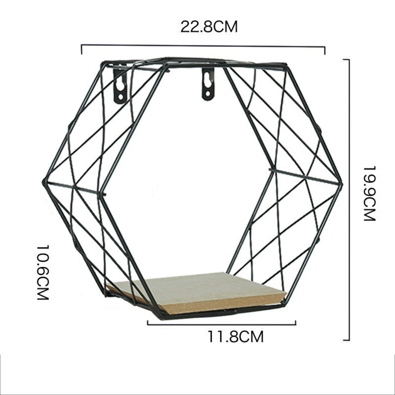 Nordic Iron Hexagonal Grid Wall Floating Shelf Combination Wall Hanging Geometric Figure Art - wall art-oosmdeals