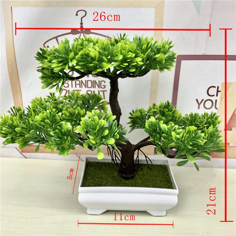 Artificial Green Plants Bonsai Simulation Plastic Small Tree Pot Plant - home and decor-oosmdeals