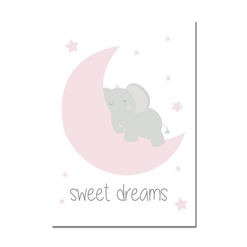 Pink Elephant Star Canvas Children Poster Print Baby Girl Nursery Wall Art Picture Painting - wall art-oosmdeals