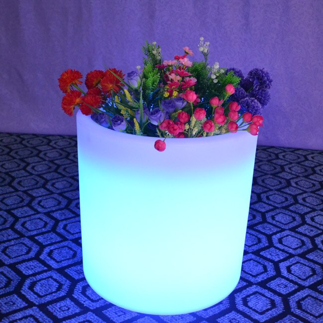 Remote control Colorful Changeable Led Luminous flash flower pot of indoor illuminated Light planter pot Free Shipping 10pcs/Lot