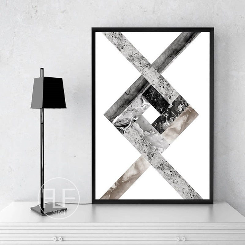 Abstract Geometric Canvas Painting Black and White Nordic Posters and Prints Wall Art Picture for Living Room Decor No Frame