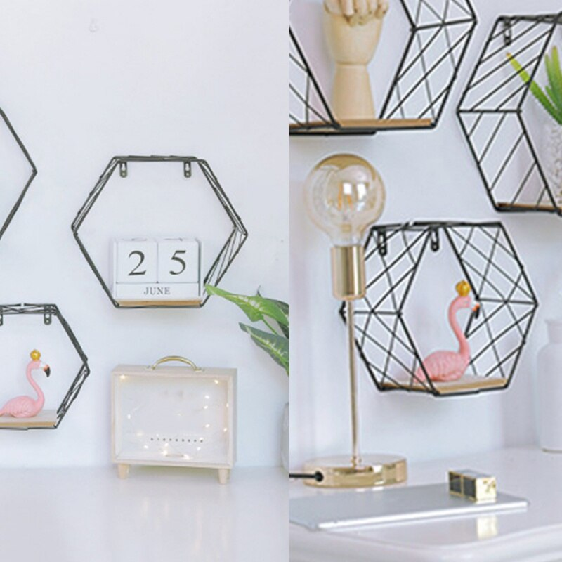 Nordic Iron Hexagonal Grid Wall Floating Shelf Combination Wall Hanging Geometric Figure Art Decoration For Living Room Bedroom