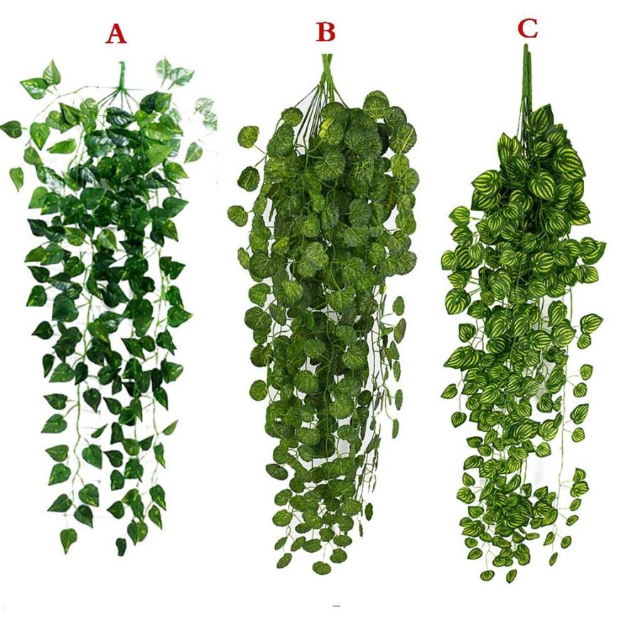 1Pcs Artificial Fake Hanging Vine Plant Leaves Garland Home Garden Wall Decoration Green May23 - home and decor