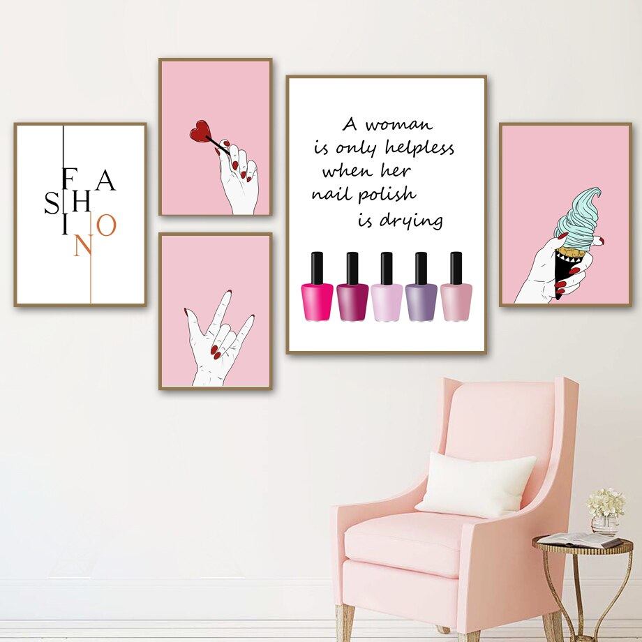 Home Decor Prints Painting Wall Art Makeup Nail Polish Manicures Nordic Style Pictures Modular Canvas Poster Bedside Background