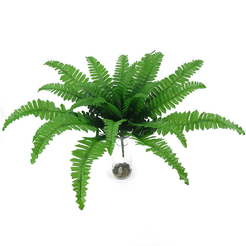 24 Head Artificial Plants Persian Leaves Simulation Fern Grass Green Big Leaves for Home Garden Wedding Decoration Fake Leave
