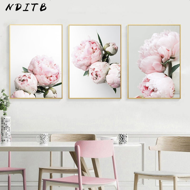 Peony Flower Canvas Poster Nordic Blush Floral Botanical Print Wall Art Painting - wall art