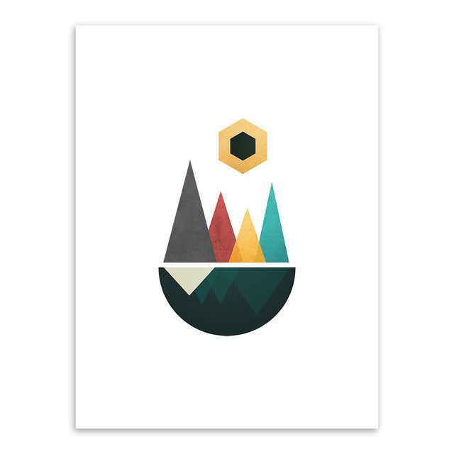 Abstract Geometric Shape Landscape Mountain Sun Canvas Art Print Poster - wall art-oosmdeals