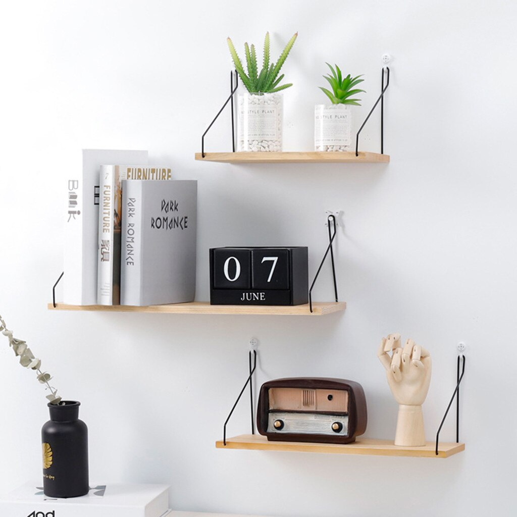 Fashion Simple Nordic wooden shelves Wall Shelf Wooden Floating Shelving living room Home Decorative Storage Wall Mounted Rack