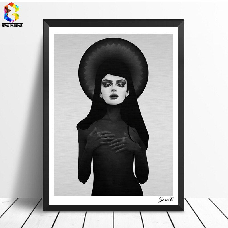 Vintage Girl Dark Cuadros Posters and Prints Black White Wall Art Canvas Painting Wall Picture For Living Room Home Decoration