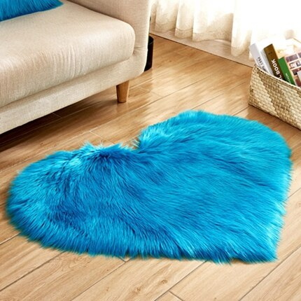 Long Hairy Rug Blue White Pink Shaggy Carpet Love Heart Shape Fur Rugs Artificial Wool Sheepskin - home and decor-oosmdeals