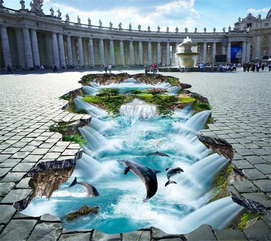 Beibehang Bathroom 3D flooring high-definition water production floating mountain dolphin 3D outdoor painting floor mural photo