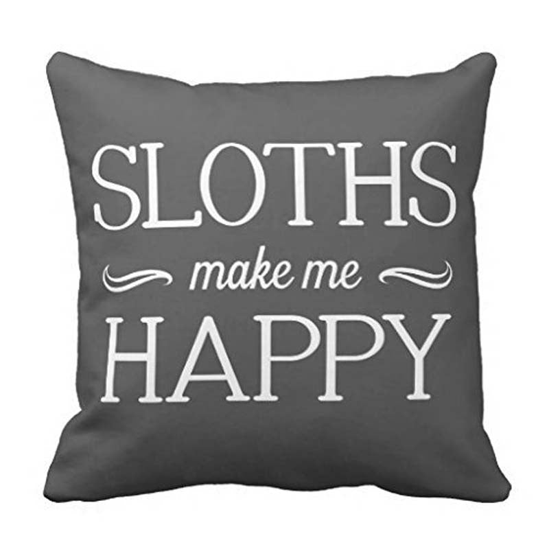 "Sloths Happy Throw Pillows for Couch Home Decorative Pillow Cover 18 x 18"" Square - home and decor"