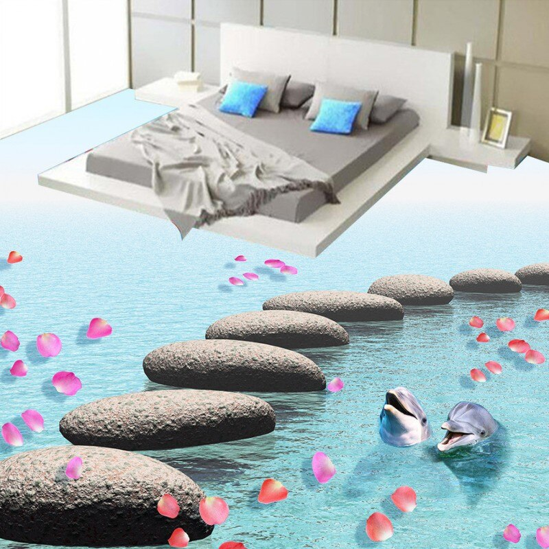 Free Shipping Stone floats 3d flooring dolphin flooring painting self-adhesive bedroom living room study lobby flooring mural