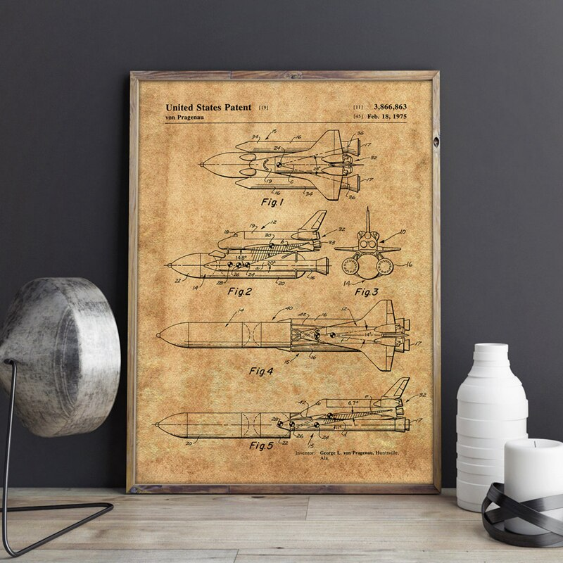 Space Shuttle Patent Blueprint Vintage Posters and Prints Outer Space Artwork Science Wall Art Canvas Painting Gift Home Decor
