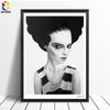 Vintage Girl Dark Cuadros, Black White Art-oosmdeals