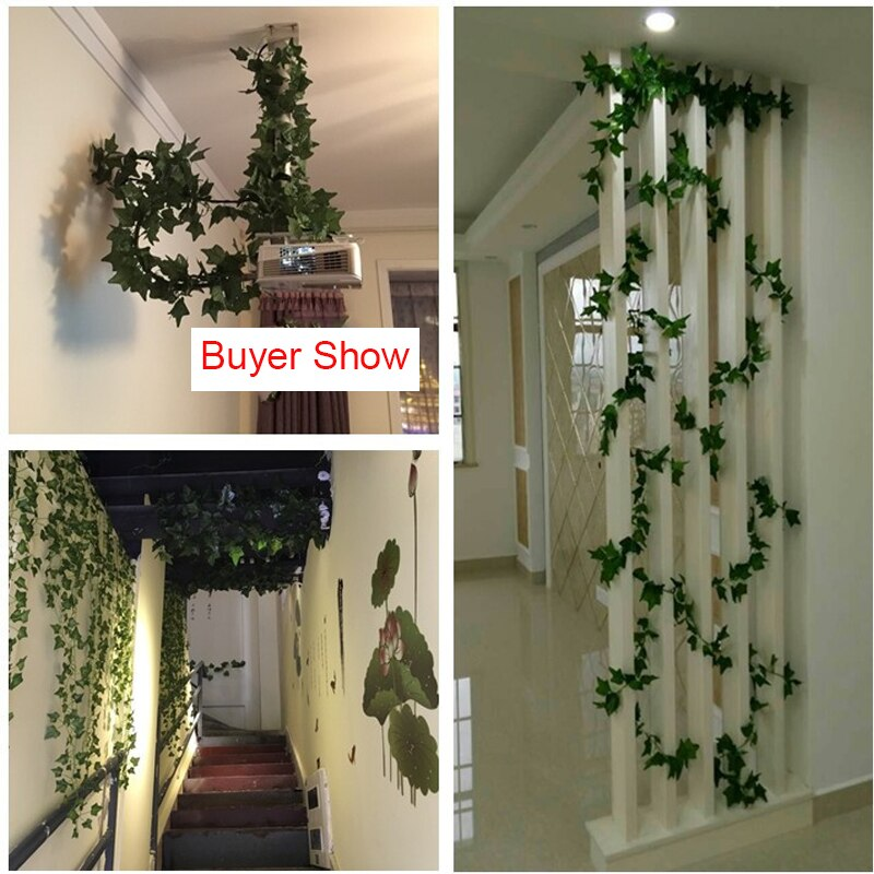 200CM Artificial Rattan Ivy Grape Green Leaf Plastic Vine for Home Garden Decoration Garland Fake Plants