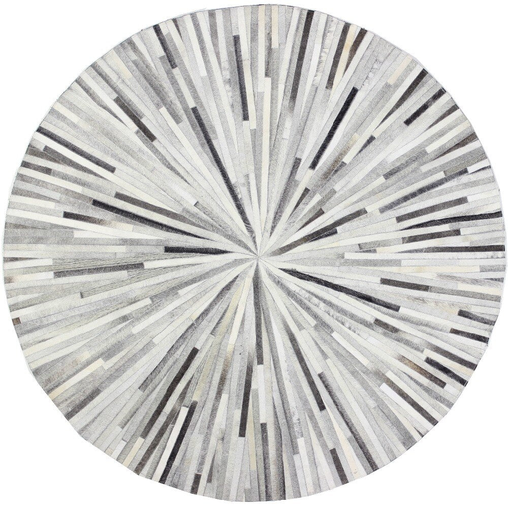 100% Natural Patchwork Cowhide Area Gray Round Rug