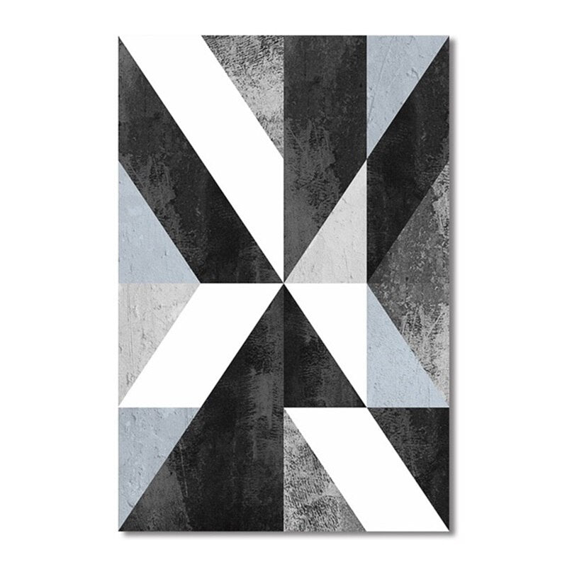Abstract Geometric Canvas Painting Black and White Nordic Posters and Prints - wall art