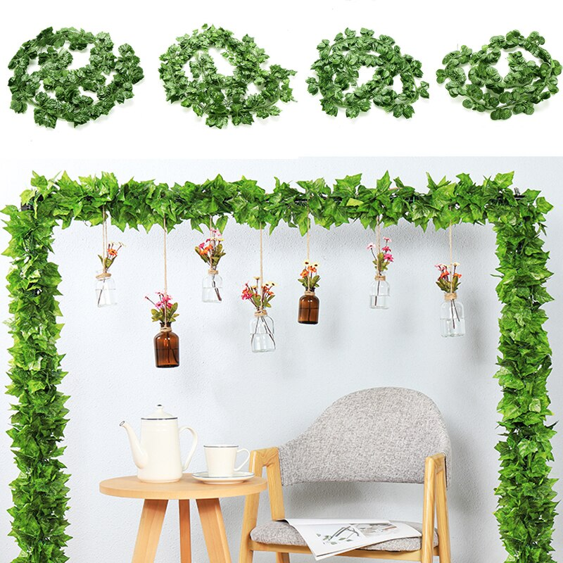 200CM Artificial Rattan Ivy Grape Green Leaf Plastic Vine for Home Garden Decoration Garland Fake Plants - home and decor
