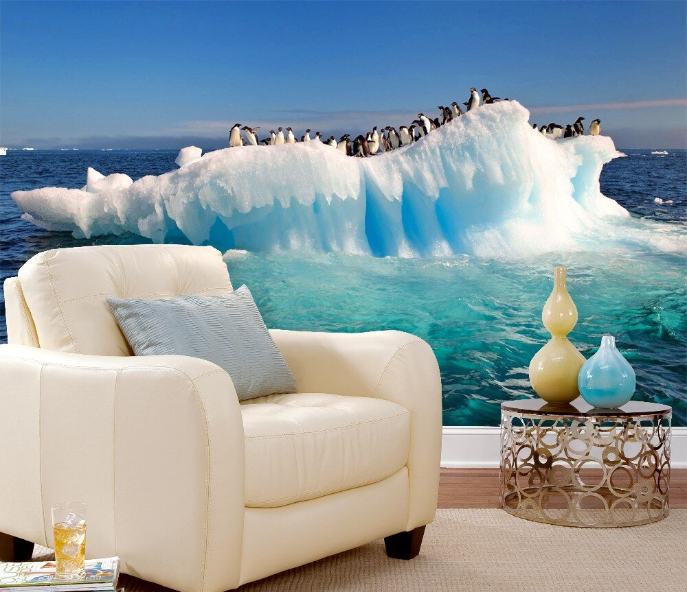 [Self-Adhesive] 3D Penguin Group Floating Glacier Sea Island 67 Wall Paper mural Wall Print Decal Wall Murals