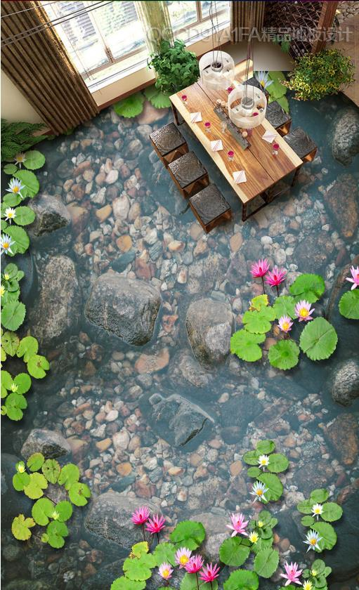 Clear underwater stone pebbles floating lotus 3d flooring wallpapers for living room