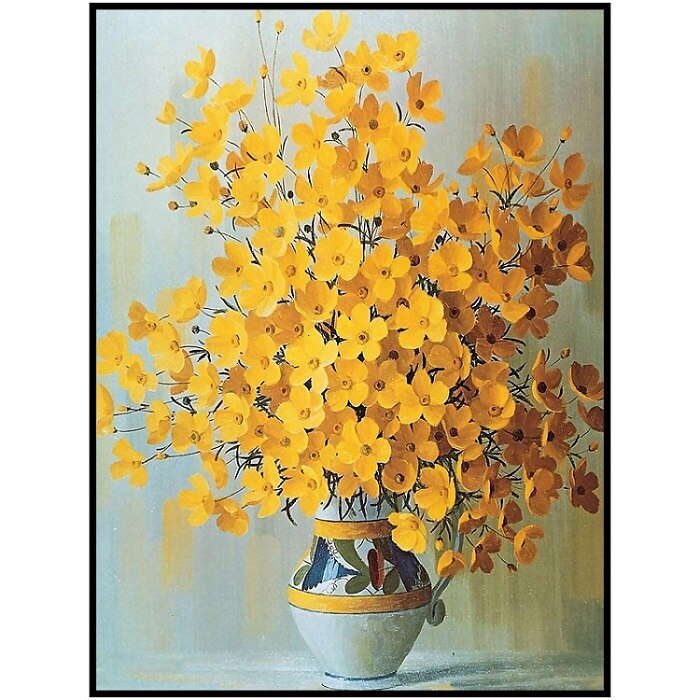 Modern Minimalist Potted Flower Poster Red Yellow Orange Flower Print Canvas Painting - wall art