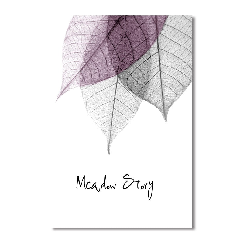 Modern Simple Small Fresh Leave Decorative Painting Modular Picture Wall Art Canvas Painting - wall art-oosmdeals