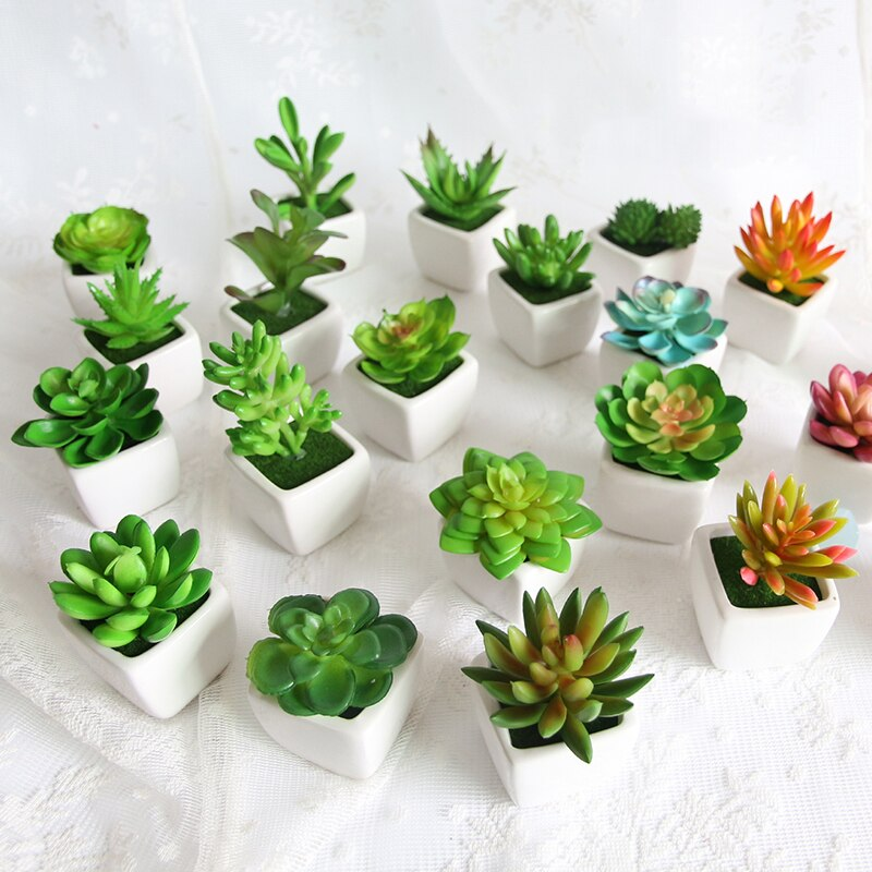 1pc Super Cute Mini Succulent Artificial Plants Bonsai for Home Table Decoration Garden Decor Greem Plant Pot Craft Suppliy
