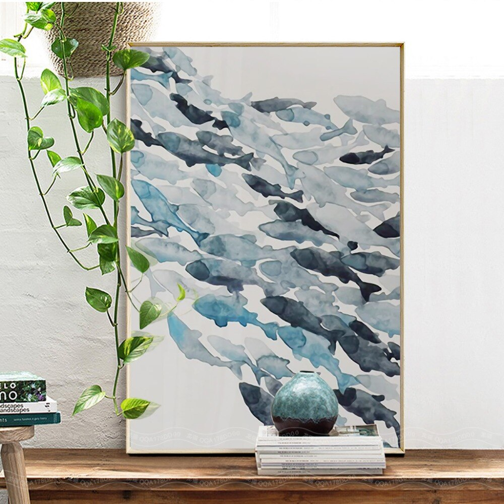 Nordic Simple Abstract Fish Group Posters and Prints Wall Art Print Canvas Painting Decorative Picture for Living Room Minimalis