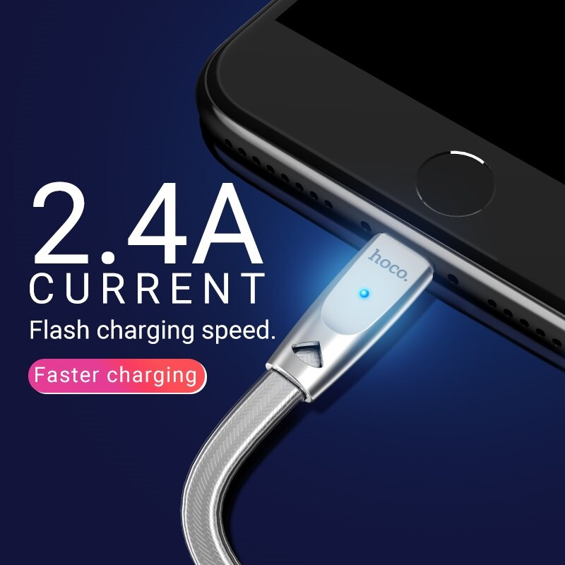 hoco cable usb a for Lightning zinc connector indicator fast charging 2.4a data sync wire cord charger for Apple iphone ipad