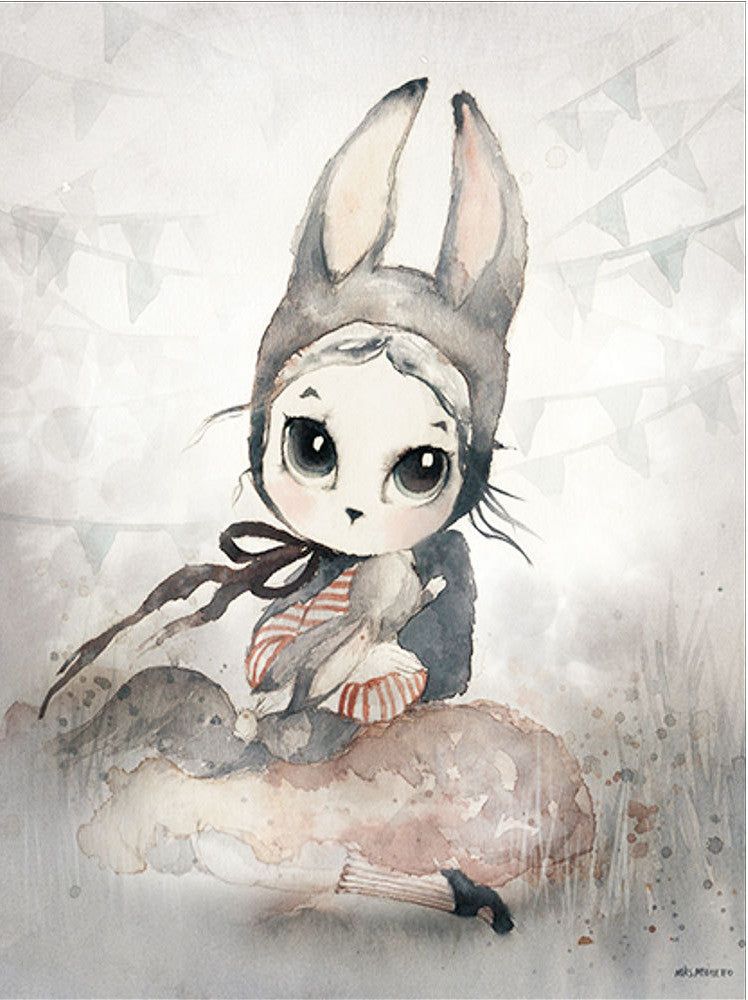 Decor Nordic Canvas Painting  Rabbit Girl - wall art