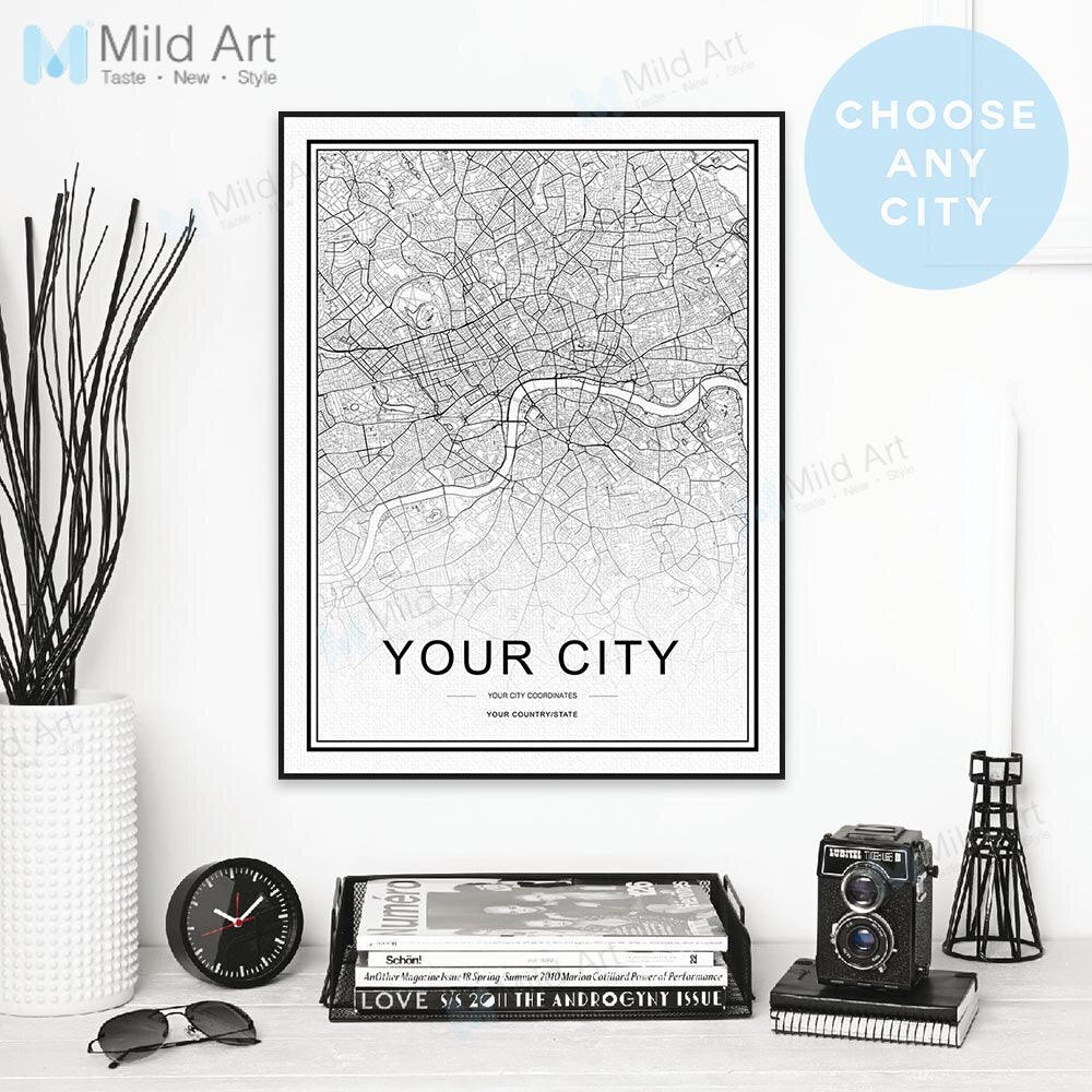 Custom World City Map Personalized Nordic Style Black White Poster and Prints Wall Art Pictures Home Decor Canvas Painting Gifts - wall art
