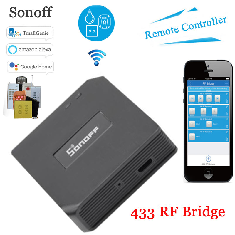 Sonoff RF Bridge, 433 RF Remote Converter 433 to WiFi Remote Control - home decor Online store
