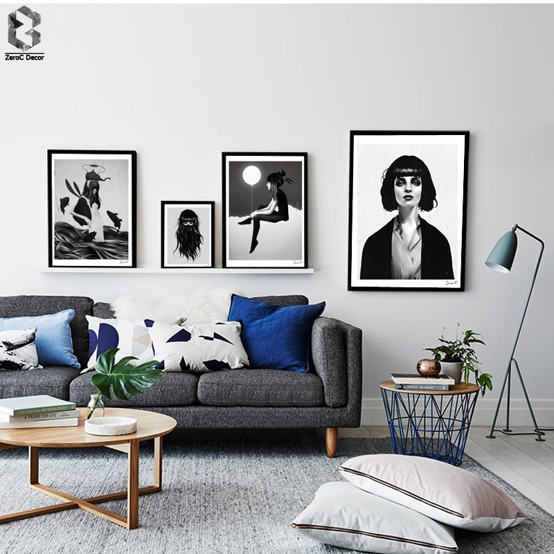 Black White Girl Portrait Printing Wall Art Poster and Print Canvas Paintings for Living Room Decor Nordic Style Bedroom Decor - Wall Art