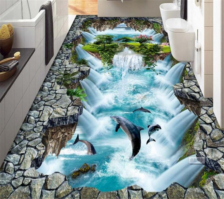 Beibehang Bathroom 3D flooring high-definition water production floating mountain dolphin 3D outdoor painting floor mural photo - home and decor