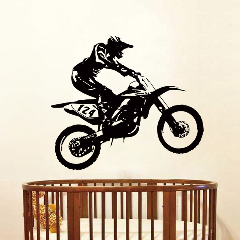 Motorbike Motocross Wall Stickers Art Removable Home Room Decor Motocross Vinyl Wall Decal - wall art
