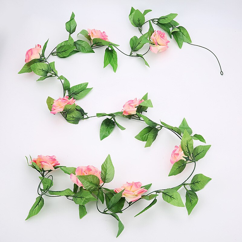 Artificial plants Rose vine green leaf Ivy vine For Home Wedding Decora diy garden wall Hanging Artificial Flowers 1 pcs-oosmdeals