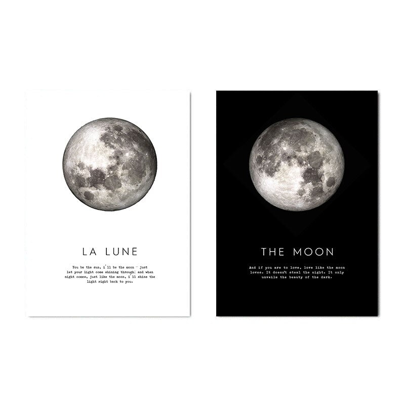 The Moon Quotes Canvas Poster Black White Wall Art Print Planet Painting Decorative Picture Modern Home Living Room Decoration-oosmdeals